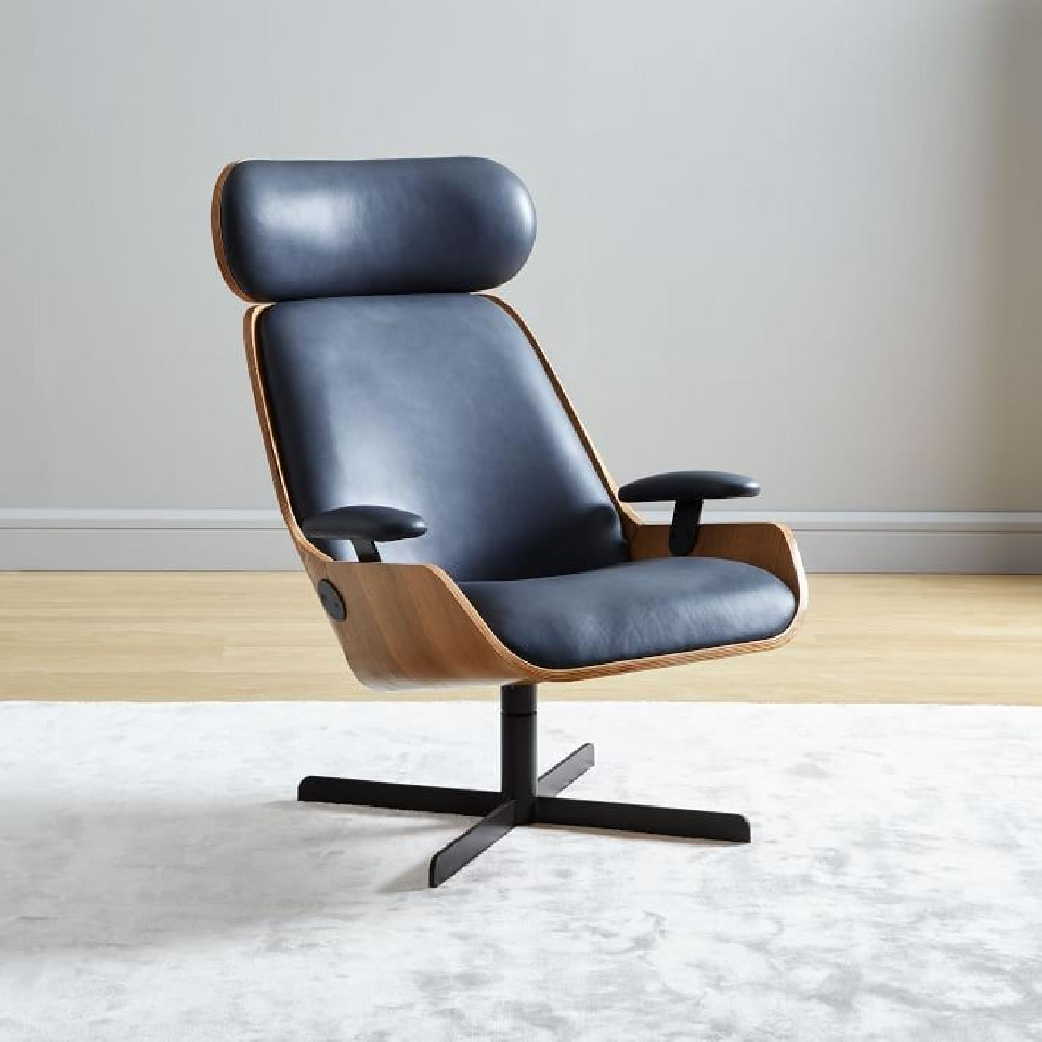Malcolm Bent Ply Leather Swivel Chair-1