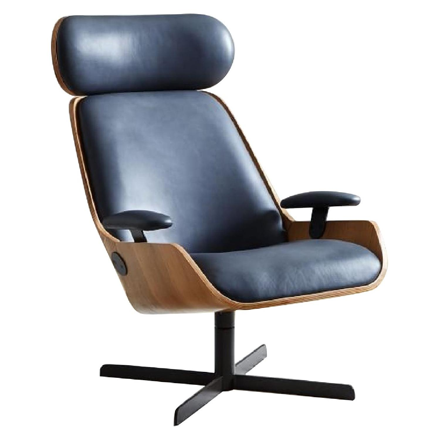 Malcolm Bent Ply Leather Swivel Chair
