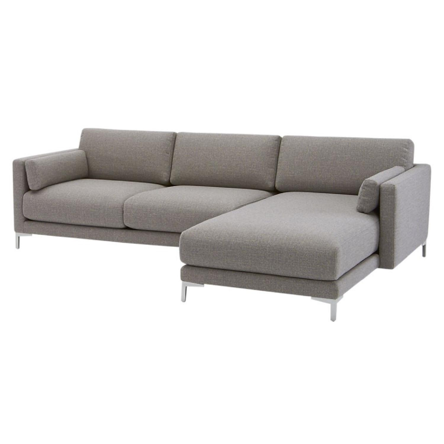 Cb2 District 2 Piece Grey Sectional Sofa Aptdeco