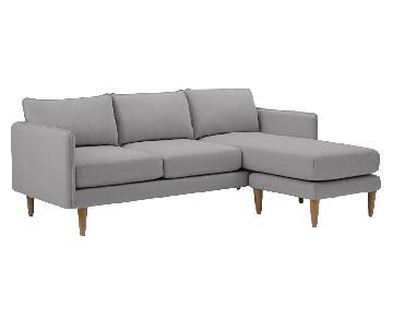 West Elm Dove Grey Quinn Sectional Sofa