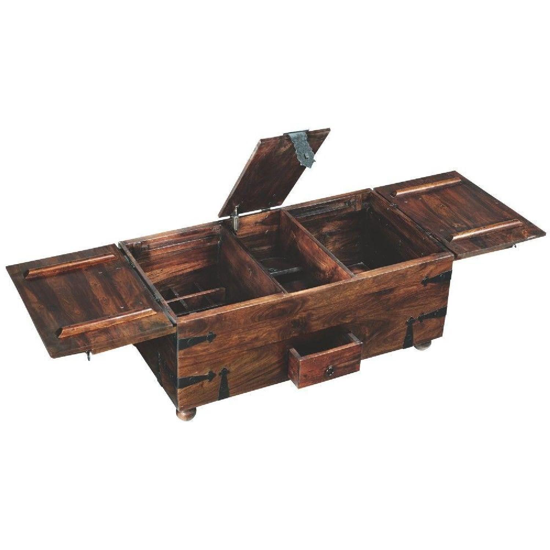 Crate & Barrel Walnut Coffee Table/Storage Trunk-0