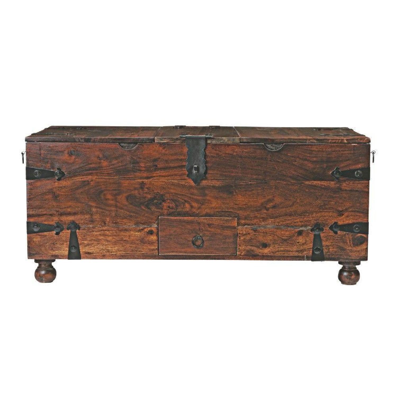 Crate & Barrel Walnut Coffee Table/Storage Trunk