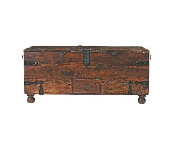 Crate & Barrel Walnut Coffee Table/Storage Trunk