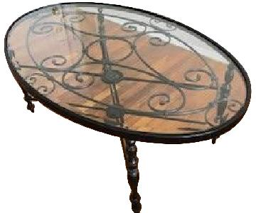 Raymour & Flanigan Metal Coffee Table w/ Glass Top