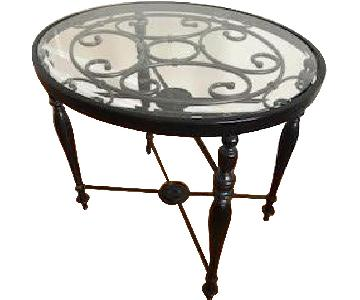 Raymour & Flanigan Metal End Table w/ Glass Top