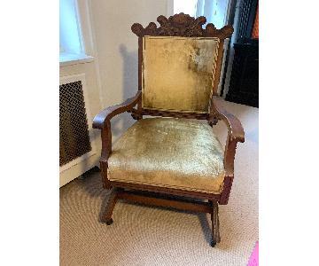 Antique Velvet & Wood Rocking Chair