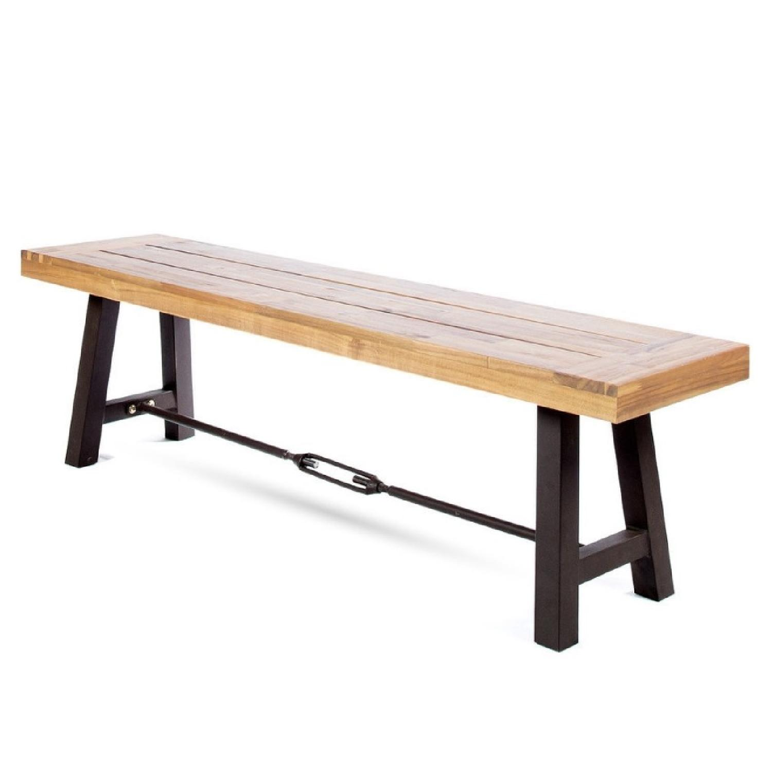 Industrial Style Wood Bench