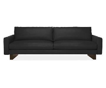 Room & Board Modern Black Down Leather Sofa