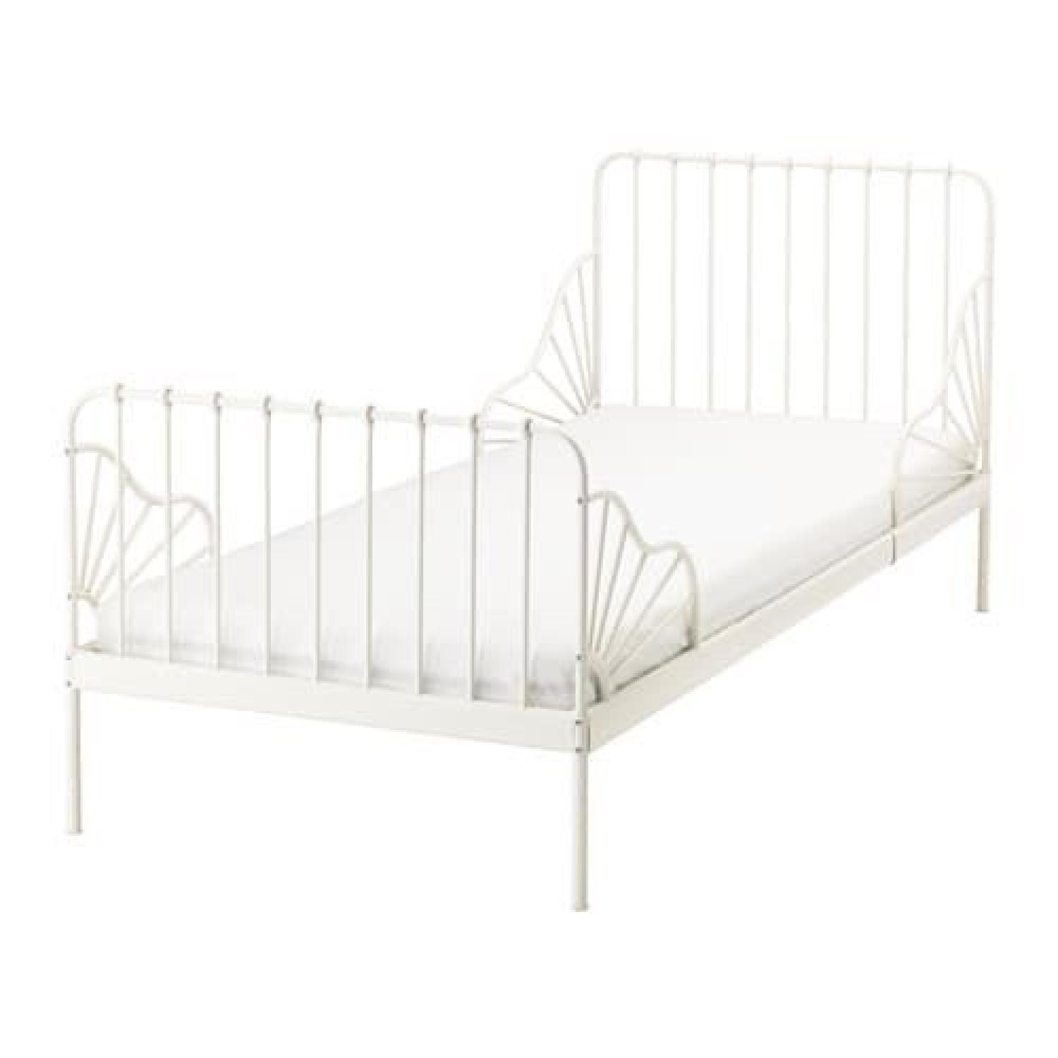 Ikea Minnen White Expandable Bed w/ Slatted Bed Base