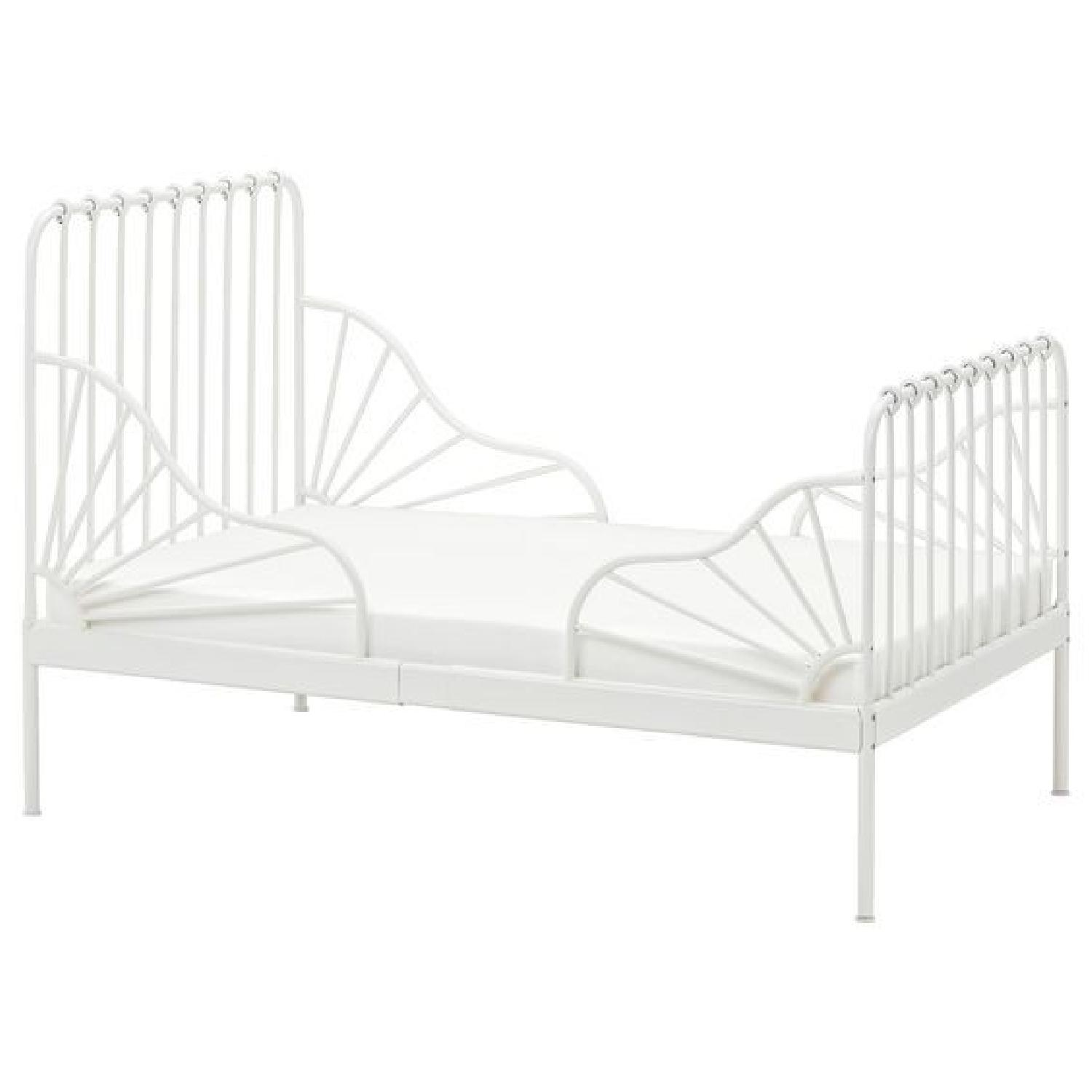 Ikea Minnen White Expandable Bed w/ Slatted Bed Base-2