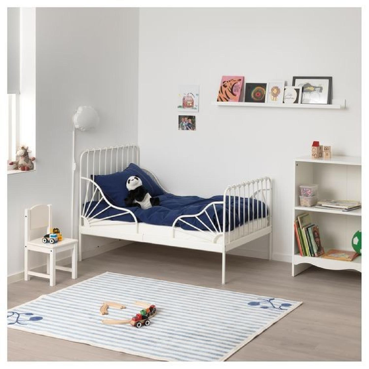 Ikea Minnen White Expandable Bed w/ Slatted Bed Base-3