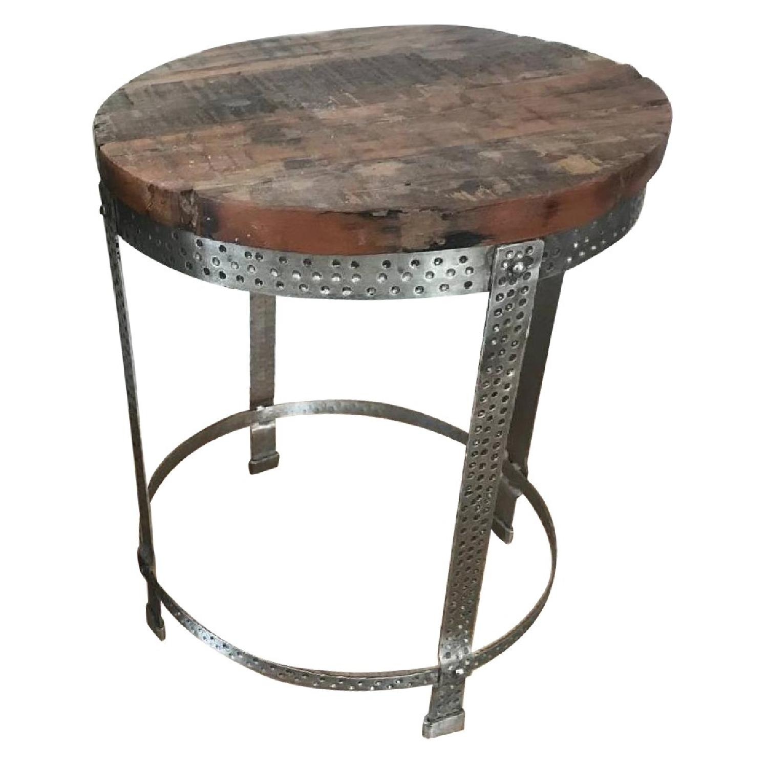 Vintage Salvaged Wood Hammered Metal Side/Night Tables