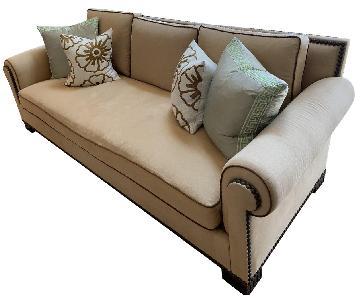 Beige Custom Sofa w/ Nailheads
