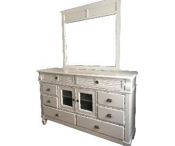 American Signature White Classic Dresser w/ Mirror