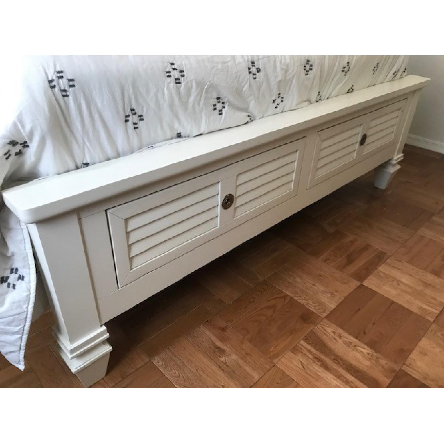 American Signature White Classic Bed Frame w/ Storage-0