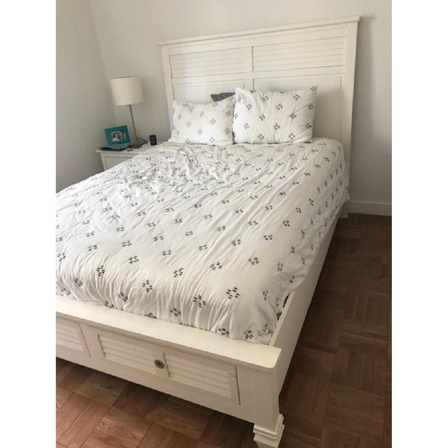 American Signature White Classic Bed Frame w/ Storage-1