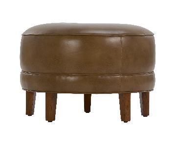 Ethan Allen Leather Circular Ottoman