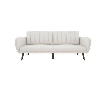 Novogratz Brittany Convertible Sofa in Light Grey/White