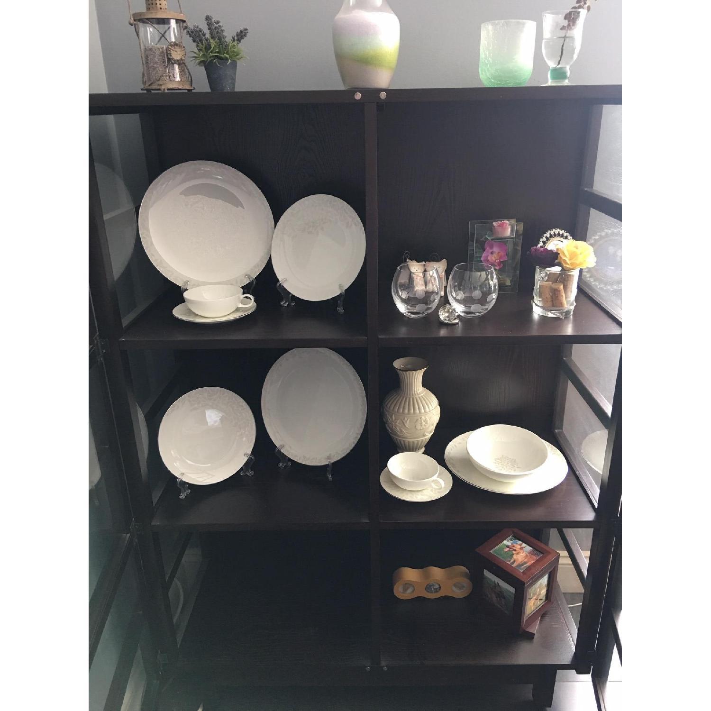 Crate & Barrel Wood & Glass Bookcase-0