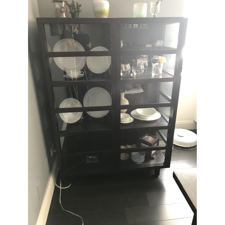 Crate & Barrel Wood & Glass Bookcase-1