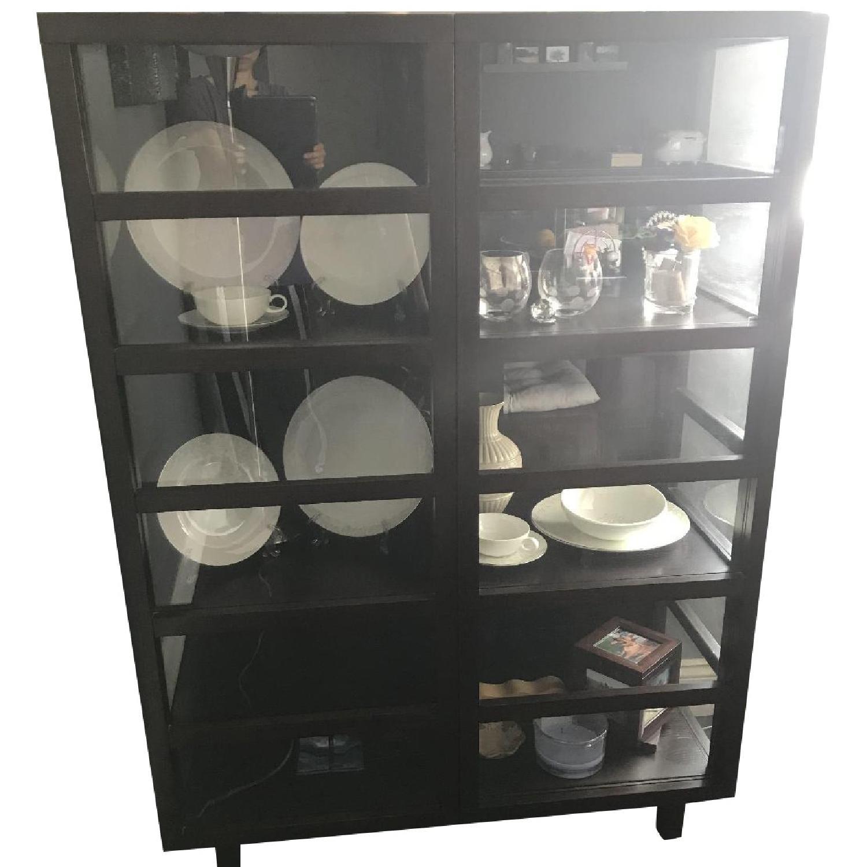 Crate & Barrel Wood & Glass Bookcase