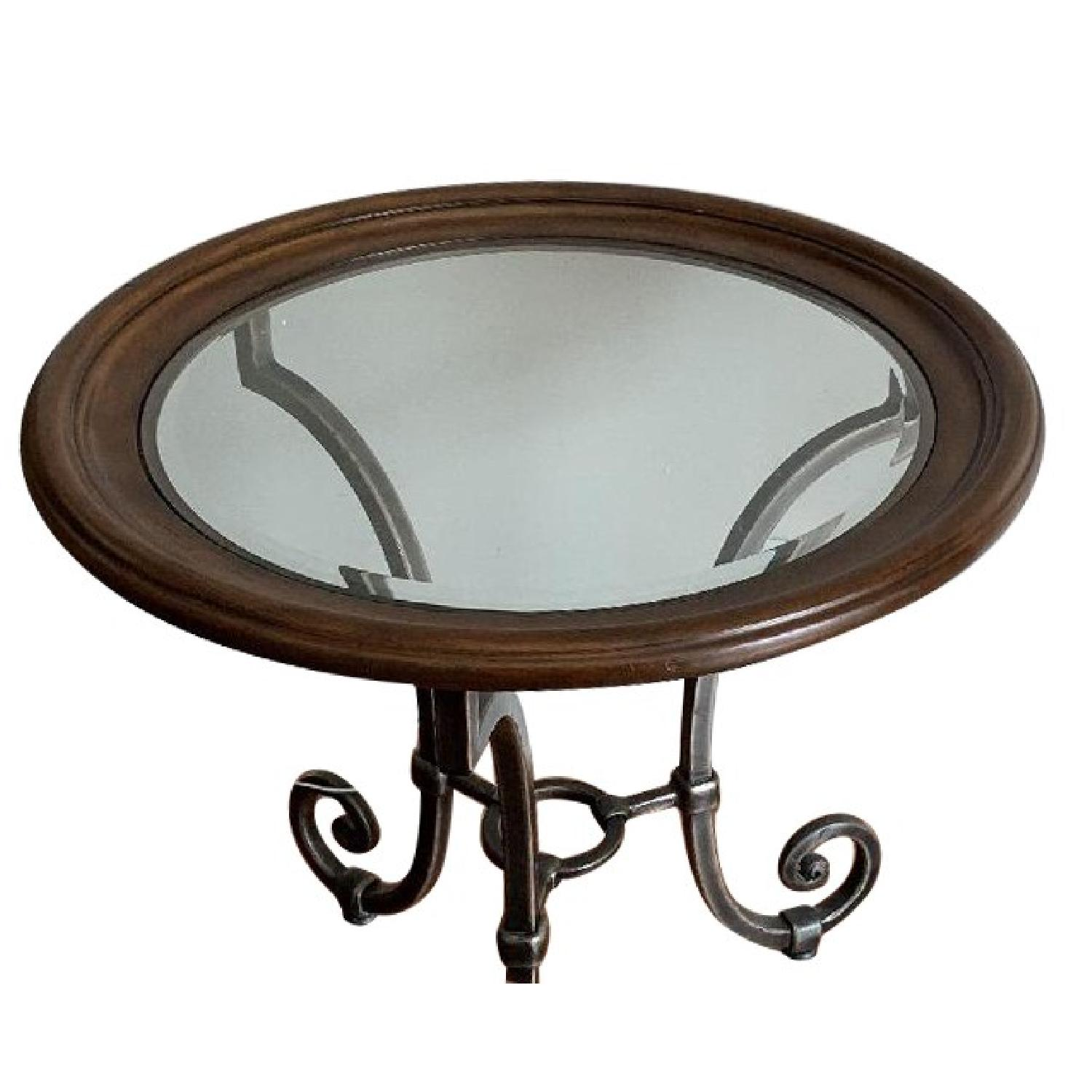 Ethan Allen Circular Glass Side Table