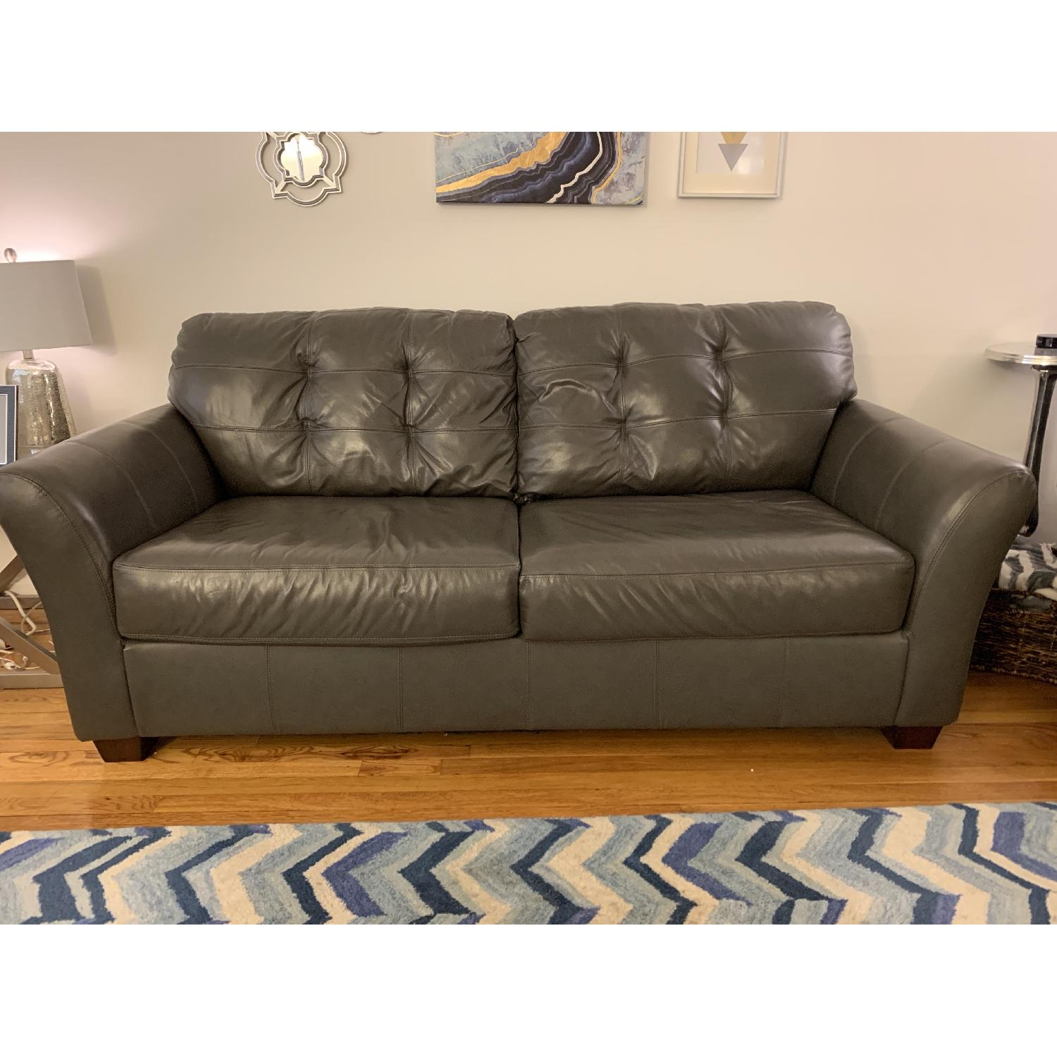 Jennifer Convertibles Gray Bonded Leather Sofa Chair Aptdeco