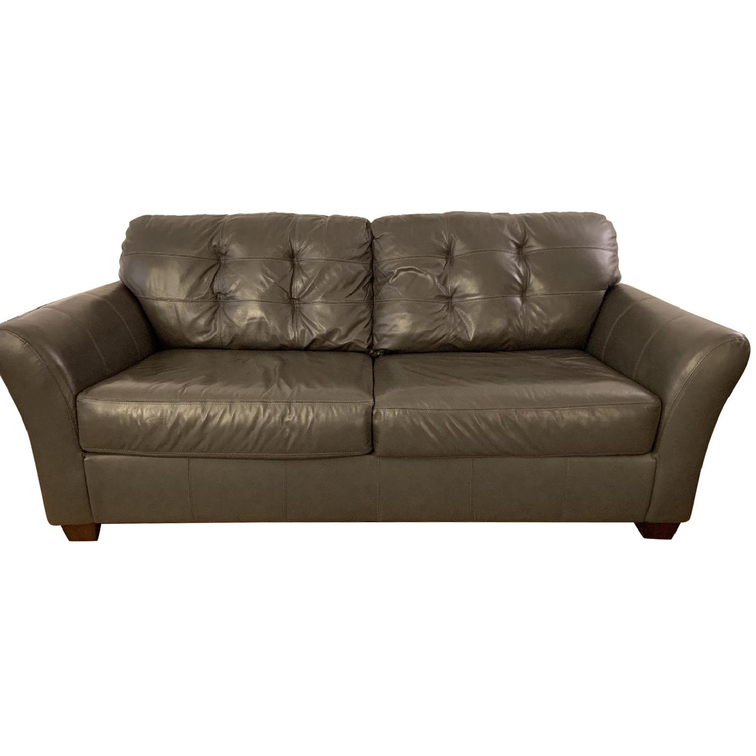 Jennifer Convertibles Gray Bonded Leather Sofa + Chair