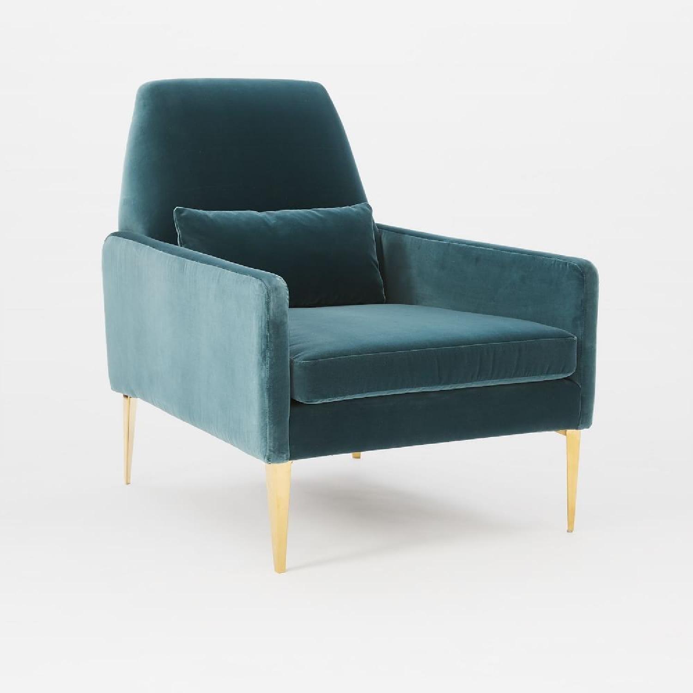 West Elm Teal Velvet Chair-0
