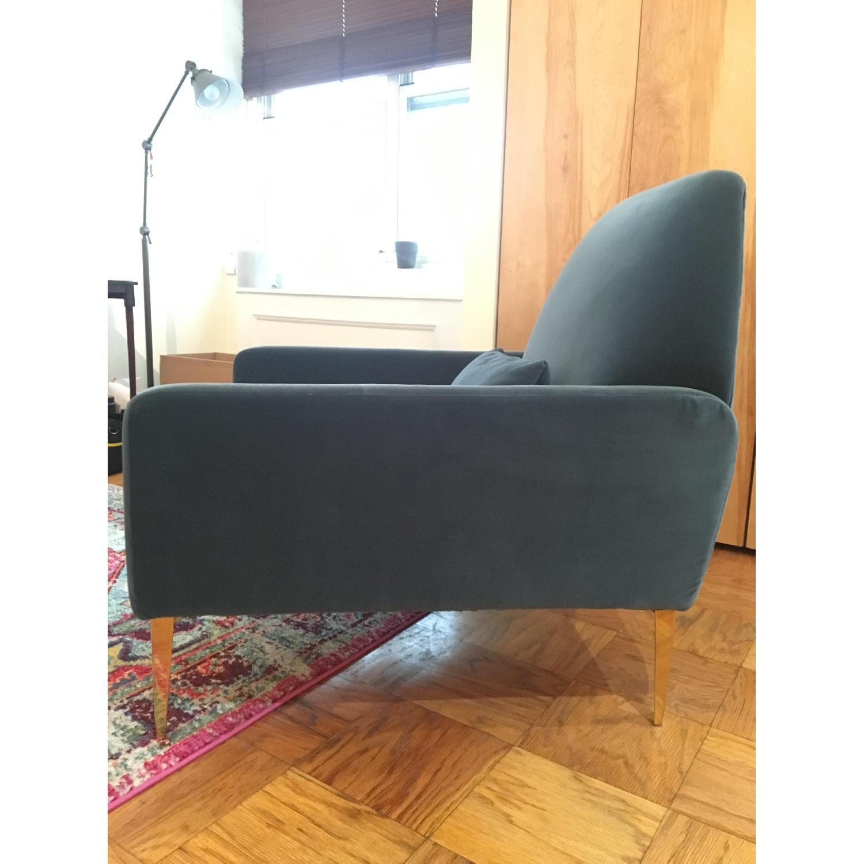 West Elm Teal Velvet Chair-2