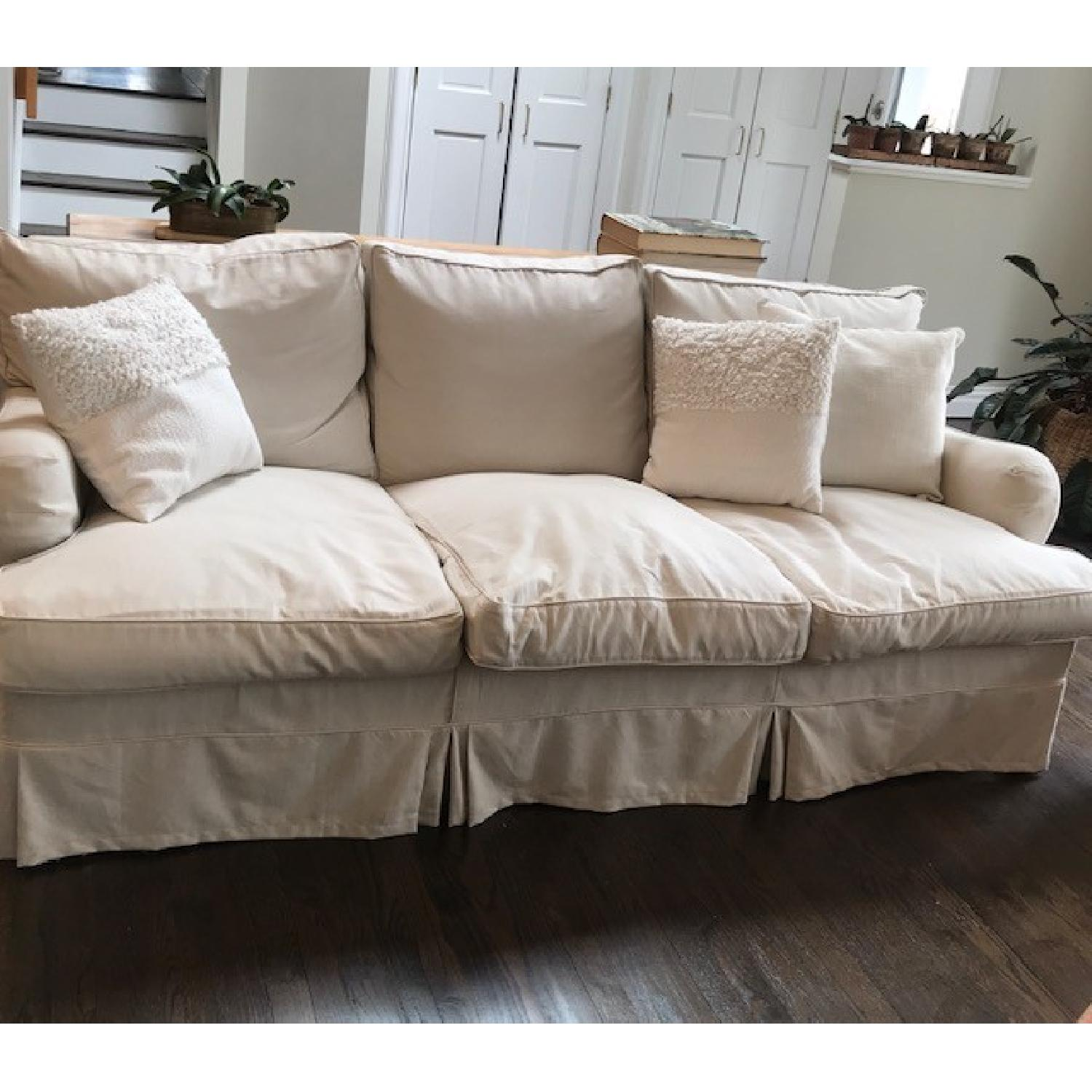 George Smith 3 Seater Slipcovered Sofa-0