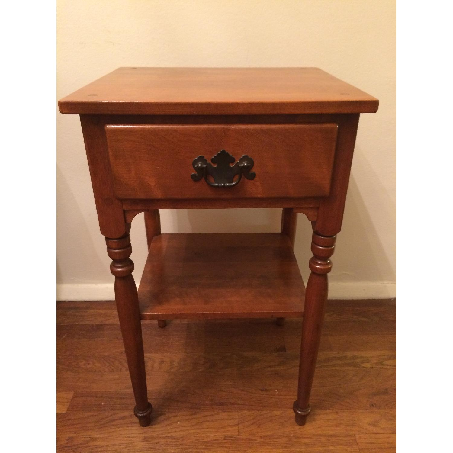 Ethan Allen Vintage Solid Wood Small Table w/ Drawer-0