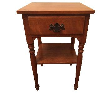 Ethan Allen Vintage Solid Wood Small Table w/ Drawer