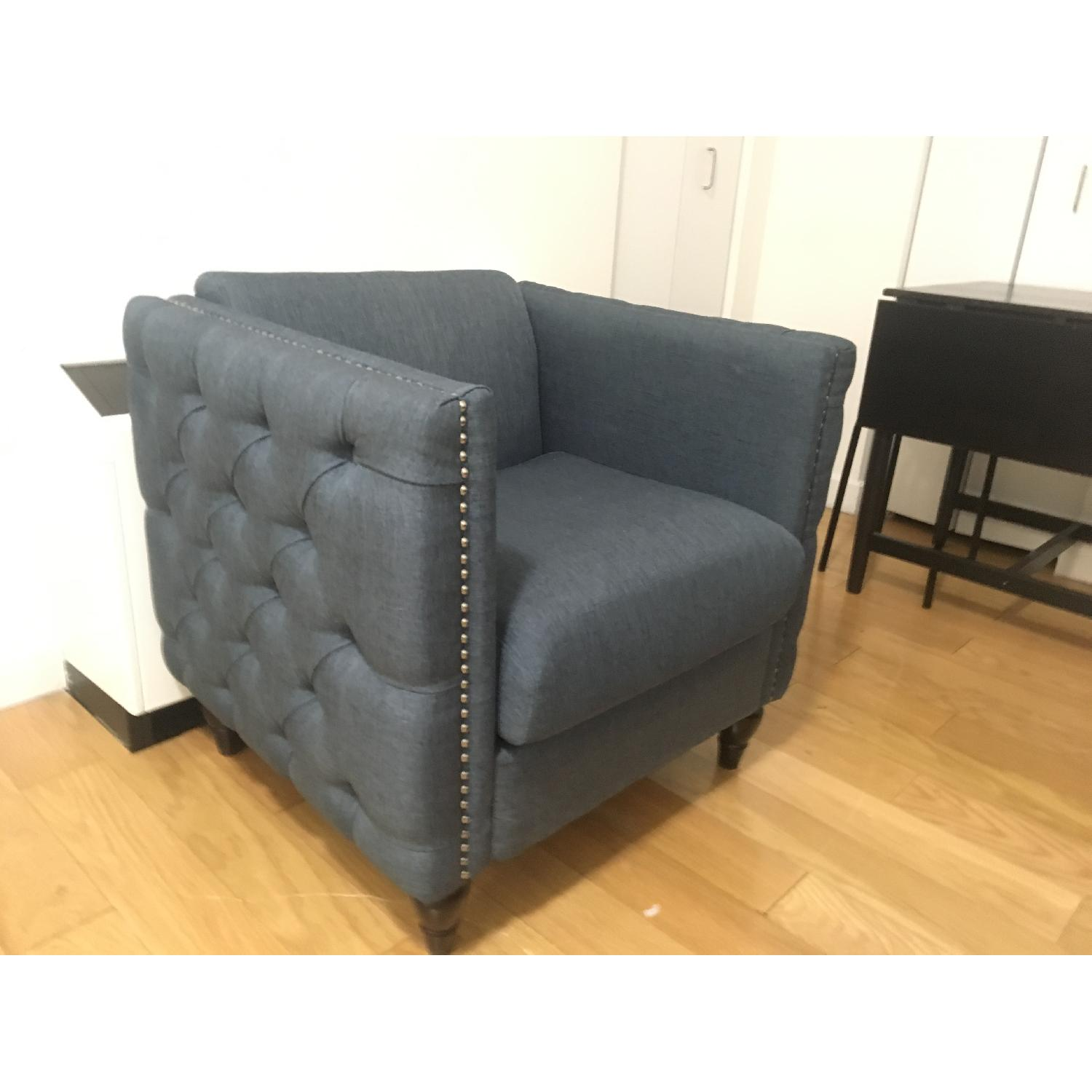 GDF Studio Tufted Gray/Blue Accent Chair-0