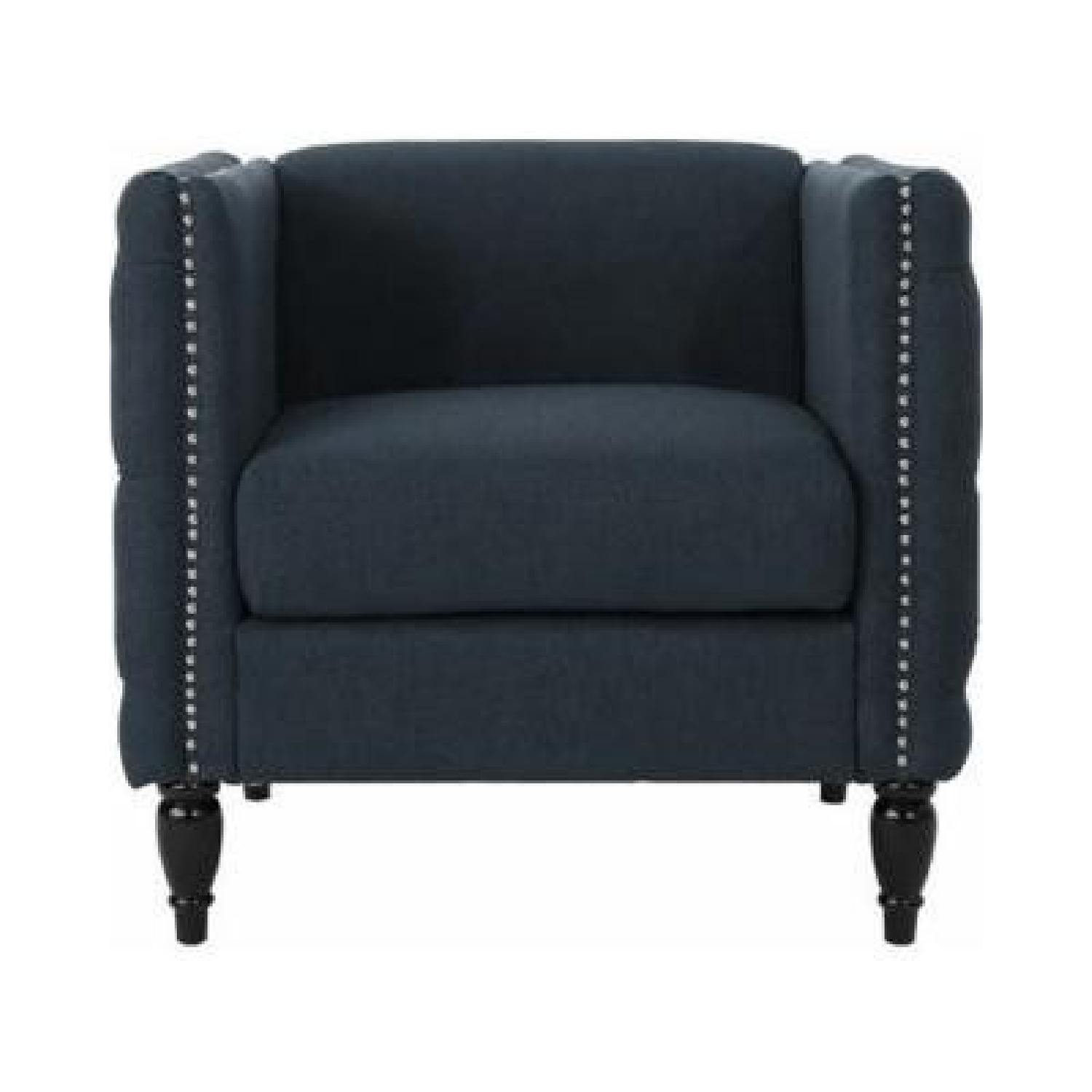 GDF Studio Tufted Gray/Blue Accent Chair