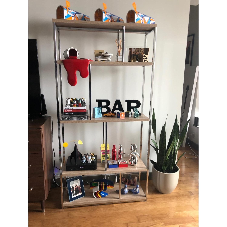Monarch Furniture Chrome Metal Bookcase-0