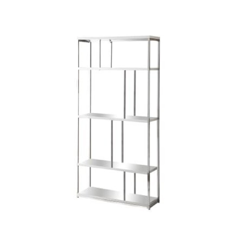 Monarch Furniture Chrome Metal Bookcase-5