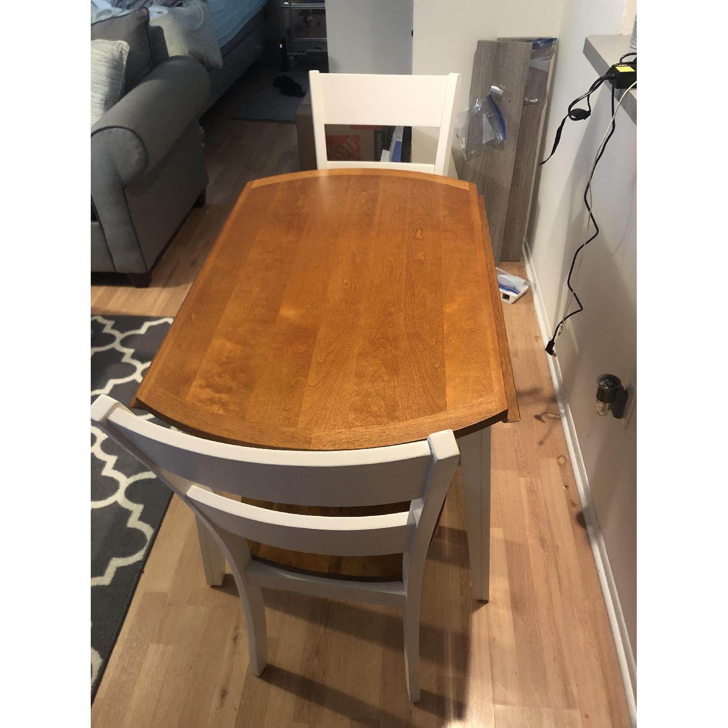 Bob's White & Oak Table w/ 2 Chairs-1