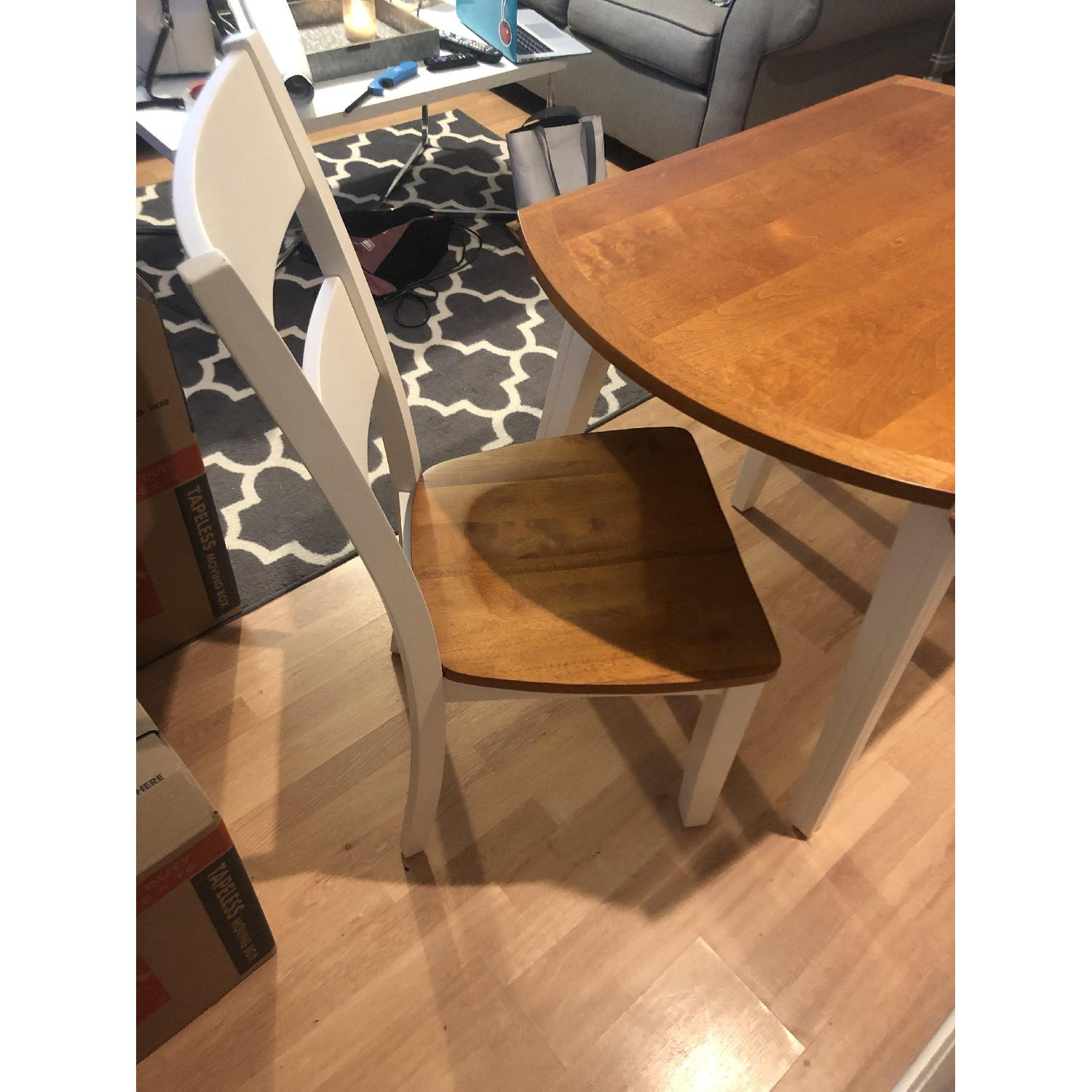 Bob's White & Oak Table w/ 2 Chairs-2