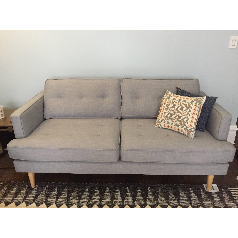 World Market Light Gray/Blue Sofa-0