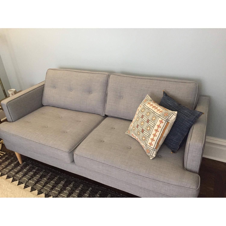 World Market Light Gray/Blue Sofa-1
