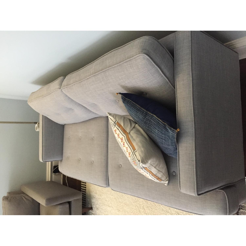 World Market Light Gray/Blue Sofa-2