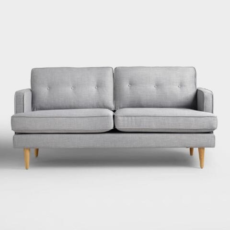 World Market Light Gray/Blue Sofa-3