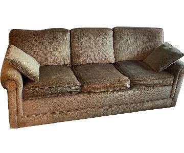 Brown Fabric 3 Seater Sleeper Sofa