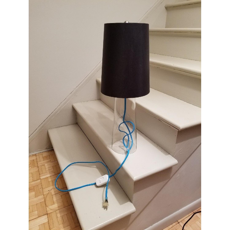 Crate & Barrel Clear Glass Lamp w/ Aqua Cord-0