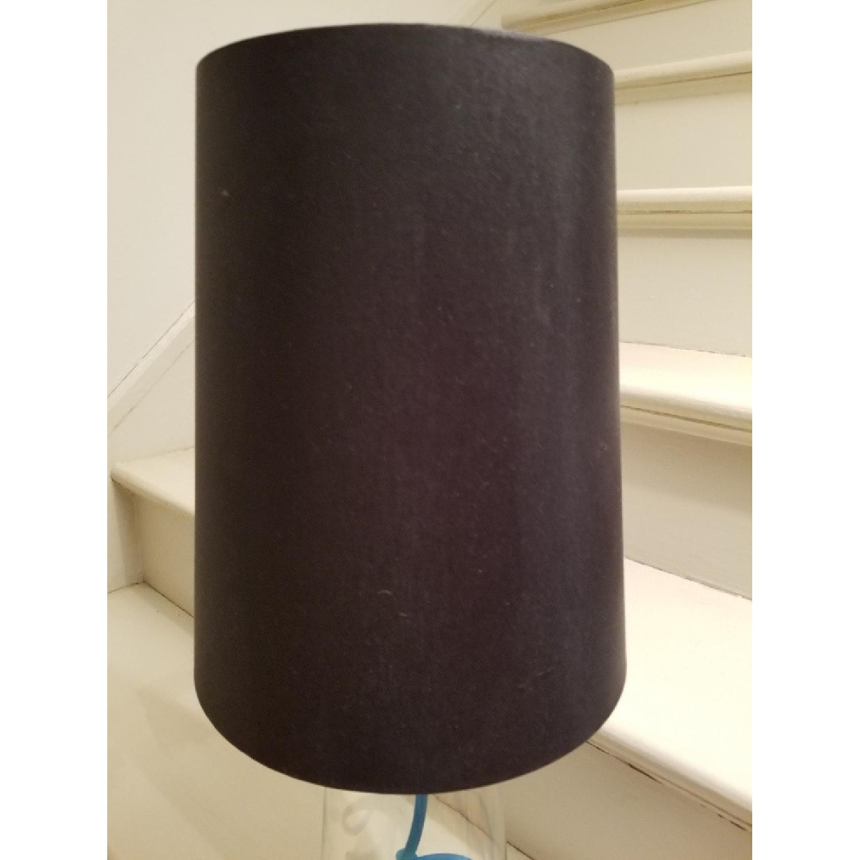 Crate & Barrel Clear Glass Lamp w/ Aqua Cord-2