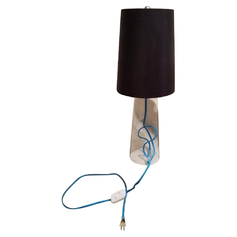 Crate & Barrel Clear Glass Lamp w/ Aqua Cord
