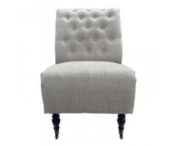 Steven Rhoades Linen Tufted Accent Chairs