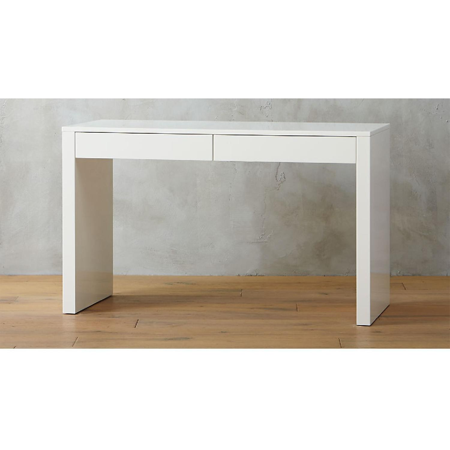 West Elm Parsons Desk White with Drawers-0