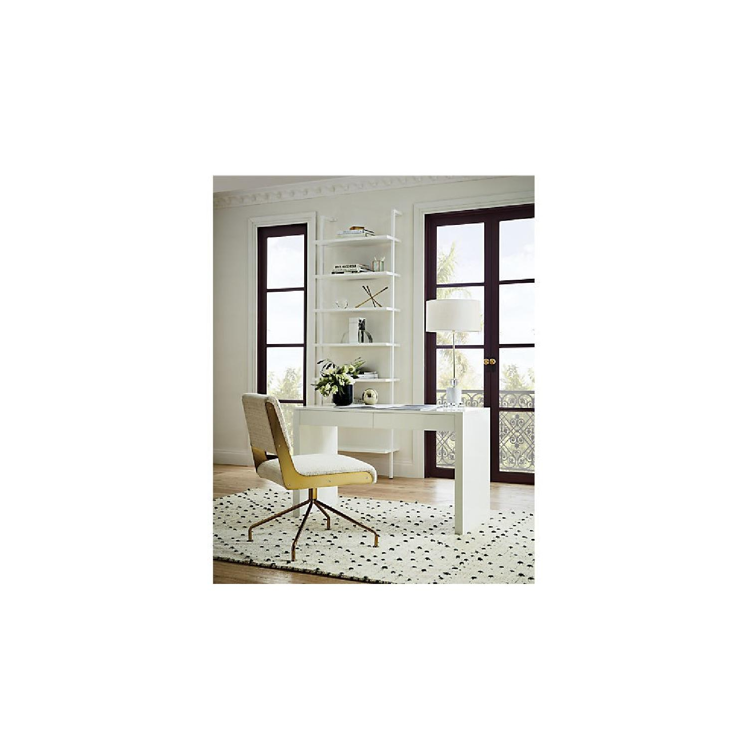 West Elm Parsons Desk White with Drawers-1